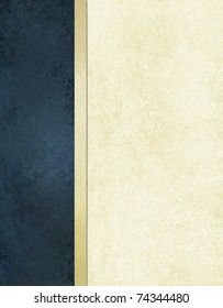book cover or white background with dark blue background side bar for web template with vintage grunge background texture on old white paper, elegant background formal design with gold frame ribbon
