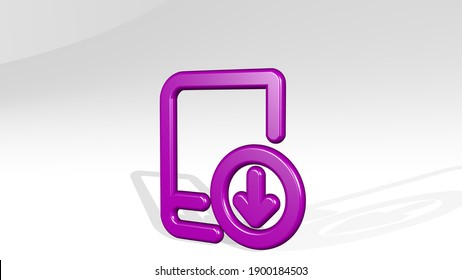 BOOK DOWNLOAD 3D icon casting shadow, 3D illustration