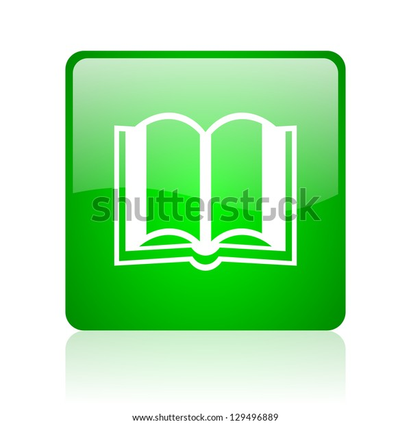 book green square web icon on white background