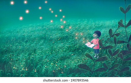 Book of imagination with a boy, Education dream hope inspiration and freedom concept, surreal painting. Fantasy art, conceptual artwork, happiness of child , 3d illustration