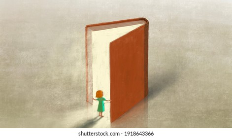 Book of imagination with a girl, Education dream hope inspiration and freedom concept, surreal painting. Fantasy art, conceptual artwork, happiness of child , 3d illustration