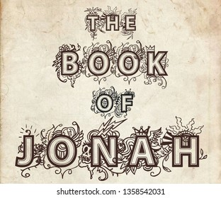 The book of Jonah. Book cover for a book included in the bible.