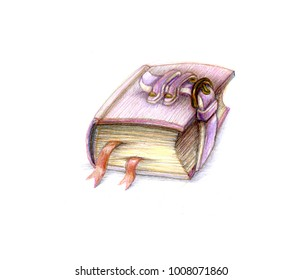 book magic object icon concept for game illustration with colored pencils