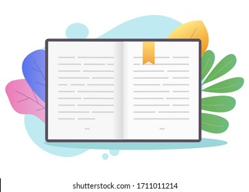Book open pages with text or textbook paper with bookmark flat cartoon illustration on colorful background, encyclopedia or schoolbook literature, notepad or notebook notes idea clipart