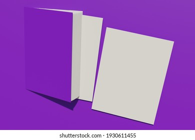 A book with a purple cover grows out of a purple wall like a door. Pages fall out of the book, leaving space for information to be added. Educational, publicistic or advertising concept. 3d rendering.