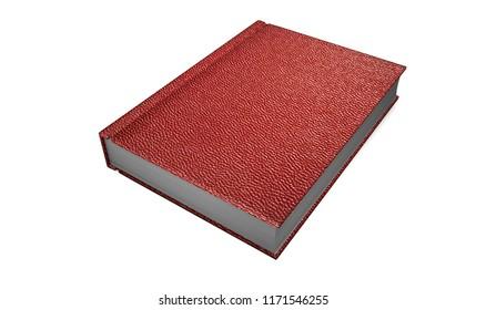 book in red hardcover. 3D rendering