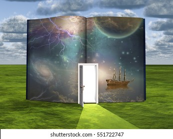 Book with science fiction scene and open doorway of light  3D Render  Some elements provided courtesy of NASA