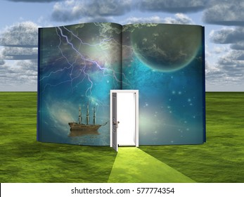 Book with science fiction scene and open doorway of light  Some elements provided courtesy of NASA   3D Render