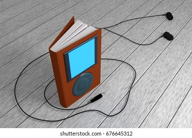 book with screen, buttons and headphone, the concept of audiobooks, audiobook concept. 3D rendering