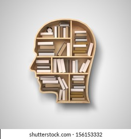 book shelf in form of head on gray backgrounds