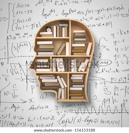 book shelf in form of head on formulas backgrounds