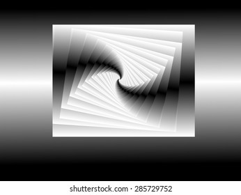 Book spiral folding upon itself to see that it was blank, Abstract digital art, spiral fractal gray, black symmetry of positive and negative fractals, white,abstract surrealism, abstract expressionism