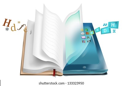 Book and Tablet illustration with texts and apps. E-book and E-library concept. Isolated on White Background.