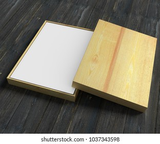 Book template in a wood gift box on a wooden background. Advertisement template. 3D rendering