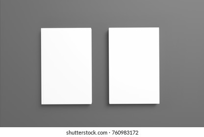 Book with white hardcover isolated on grey. 3d render. Template to showcase your presentation.