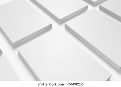 Book with white hardcover isolated on white. 3d render. Template to showcase your presentation.