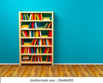 bookcase against the blue wall. 3d illustration