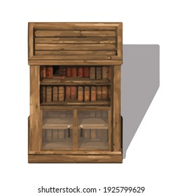 Bookcase picture. Watercolor furniture pictures. Isometric furniture. Cabinet picture. 3d rendering.
