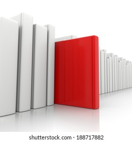 Bookcase and a Red Book Standing Up on White Background
