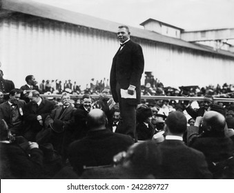 Booker T. Washington (1856-1915), standing on a stage in Mound Bayou, Mississippi, 1912.