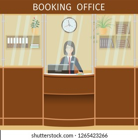 Booking office design with woman employee at the counter. Workplace of booking-clerk with clock and bookshelf.