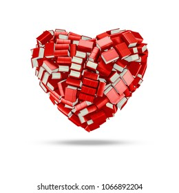 The bookish heart / 3D illustration of hundreds of thick bound books forming book lovers heart