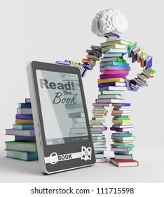 Bookish man stands next to an e-book