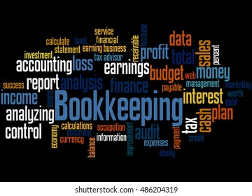 Bookkeeping, word cloud concept on black background.