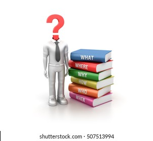 Books with Business Character and Question Mark - Learning Concept - High Quality 3D Rendering