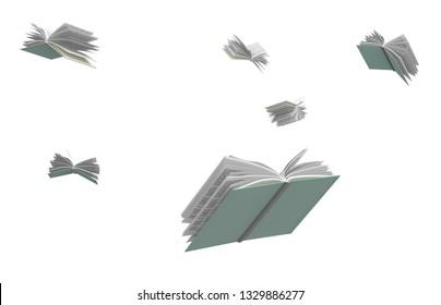 Bücher, die umherfliegen, einzeln auf weißem Hintergrund, 3D-Illustration