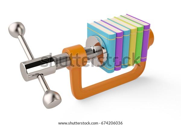 Books in G clamp on white background 3D illustration