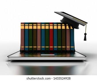 Books and graduation cap on laptop- e-learning 3d concept. 3D illustration