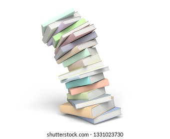 Books isolated on the white background 3d render