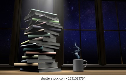 Books on the table with coffee mug 3d render