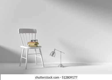 Books on white chair in the morning after reading all night, 3d rendering