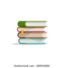 Books stacked, books pile with bookmark, textbook stack with shadow, symbol of education, learning, modern flat cartoon illustration design isolated on white background image
