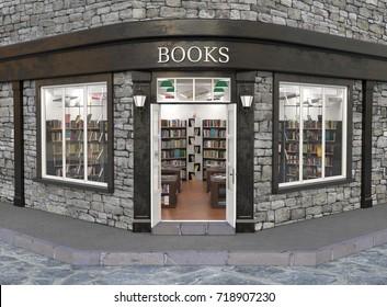 Books store exterior, 3d illustration