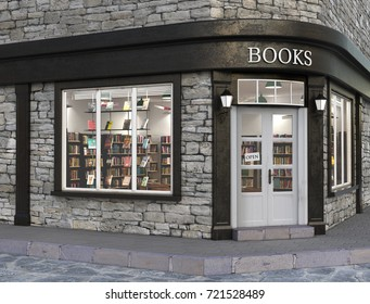 Books store exterior, 3d illustration