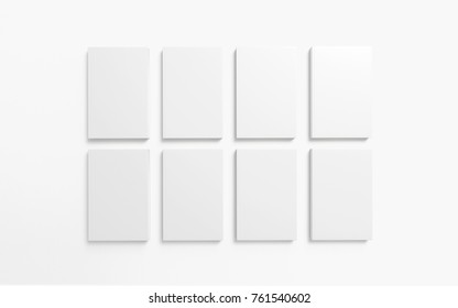 Books with white hardcover isolated on white. 3d render. Template to showcase your presentation.