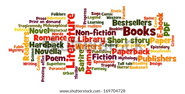 """Stock ilustrace """"Books Word Cloud Frequent Words Related"""