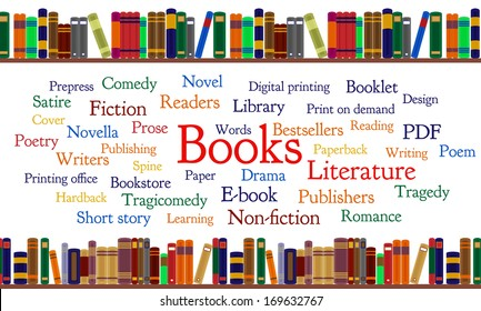 Books word cloud and books on shelf. Frequent words related to books. Major forms and genres.
