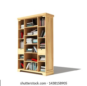 Bookshelf with a book isolated on white background. 3d illustration