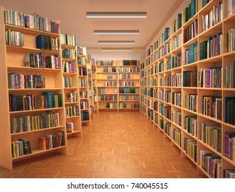 Bookshelf in book store. 3d illustration