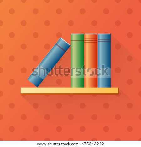 Bookshelf With Books Cartoon Design