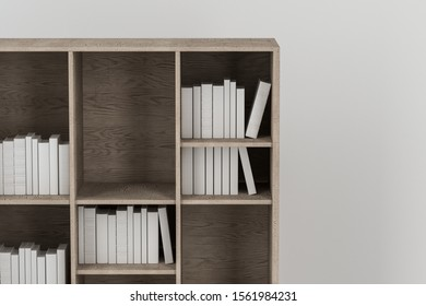Bookshelf with books inside in the empty new house, 3d rendering. Computer digital drawing.