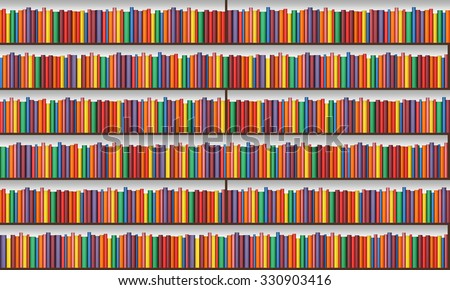 Bookshelf Books Light Seamless Texture Background Stock Illustration