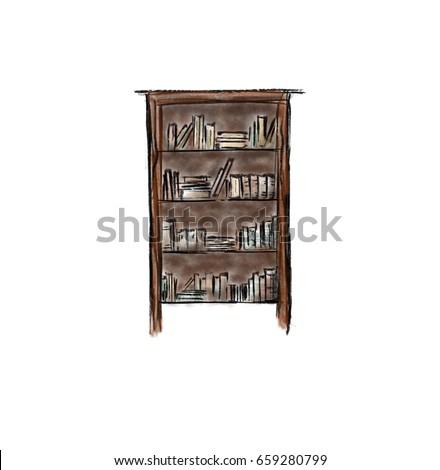 Bookshelf Drawing Isolated Stock Illustration 659280799