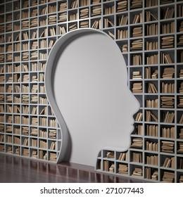 Bookshelf forming a head silhouette