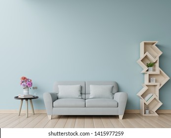 Bookshelf in living room have sofa and blue wall background,3D rendering