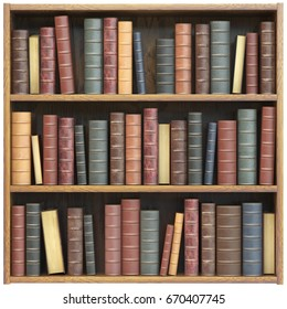 Bookshelf  with old books isolated on white background. Education library book store concept. 3d illustration.